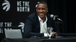 Toronto Raptors executive Masai Ujiri attends a press conference in Toronto on Wednesday August 18, 2021. THE CANADIAN PRESS/Chris Young
