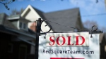 A real estate sold sign is shown in a Toronto west end neighbourhood May 17, 2020. The Toronto Regional Real Estate Board says home sales in the Greater Toronto Area posted a record for August as they rose 40.3 per cent compared with a year ago. THE CANADIAN PRESS/Graeme Roy