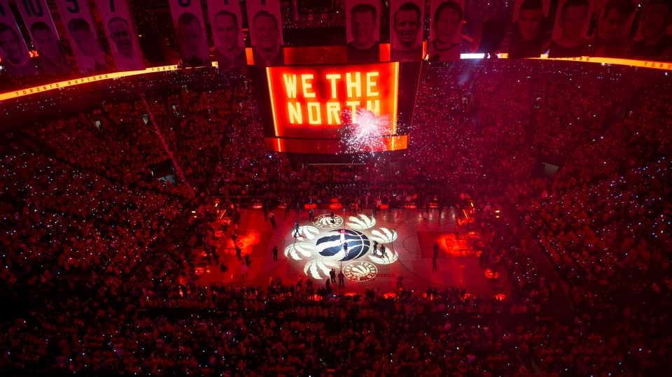 FILE - The court is illuminated at Scotiabank Arena ahead of the first half of Game 2 of the NBA Finals between the Toronto Raptors and the Golden State Warriors in Toronto on Sunday, June 2, 2019. THE CANADIAN PRESS/Chris Young