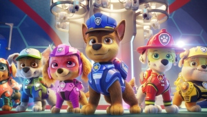 """Zuma (voiced by Shayle Simons), left to right, Rocky (voiced by Callum Shoniker), Skye (voiced by Lilly Bartlam), Chase (voiced by Iain Armitage), Marshall (voiced by Kingsley Marshall), and Rubble (voiced by Keegan Hedley) are seen in a handout still image for the film """"Paw Patrol: The Movie"""" from Paramount Pictures. Many parents will be having a tough talk with their kids to explain why """"Paw Patrol: The Movie"""" isn't available to watch at home in Canada. THE CANADIAN PRESS/HO-Spin Master"""
