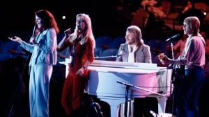 """FILE - Abba, from left, Anni-Frid Lyngstad, Agnetha Foltskog, Benny Andersson and Bjorn Ulvaeus perform at United Nations General Assembly, in New York, during taping of NBC-TV Special, """"The Music for UNICEF concert"""" on Jan. 9, 1979. ABBA is releasing its first new music in four decades, along with a concert performance that will see the """"Dancing Queen"""" quartet going entirely digital. The forthcoming album """"Voyage,"""" to be released Nov. 5, is a follow-up to 1981's """"The Visitors,"""" which until now had been the swan song of the Swedish supergroup. (AP Photo/Ron Frehm, File)"""