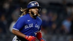 Toronto Blue Jays' Vladimir Guerrero Jr. runs up the first base line after hitting a home run against the New York Yankees during the ninth inning of a baseball game on Wednesday, Sept. 8, 2021, in New York. The Blue Jays won 6-3. (AP Photo/Adam Hunger)