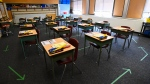 A grade six class room is shown at Hunter's Glen Junior Public School which is part of the Toronto District School Board (TDSB) during the COVID-19 pandemic in Toronto, Monday, Sept. 14, 2020.  THE CANADIAN PRESS/Nathan Denette