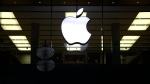 FILE - This Dec. 16, 2020 file photo shows an illuminated Apple logo at a store in Munich, Germany. (AP Photo/Matthias Schrader, File)