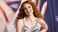 """Actress Jessica Chastain attends the premiere of """"The Eyes of Tammy Faye"""" at the SVA Theatre on Tuesday, Sept. 14, 2021, in New York. (Photo by Evan Agostini/Invision/AP)"""