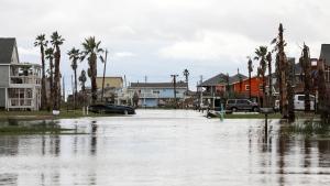 Streets are flooded from Hurricane Nicholas on Tuesday, Sept. 14, 2021, in Surfside Beach, Texas. (Jon Shepley/Houston Chronicle via AP)