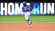 Toronto Blue Jays' Bo Bichette rounds the bases after hitting a three-RBI home run in the first inning of an American League baseball game against the Tampa Bay Rays in Toronto on Wednesday, Sept. 15, 2021. THE CANADIAN PRESS/Jon Blacker