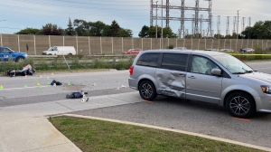 Peel police are investigating a collision in Mississauga that sent two people to hospital. (Tristan Phillips/CP24)