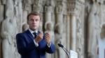 """FILE - French President Emmanuel Macron delivers his speech at the """"Cité de l'architecture et du patrimoine"""", or architecture museum, Tuesday, Sept. 7, 2021 in Paris. (AP Photo/Francois Mori, Pool)"""