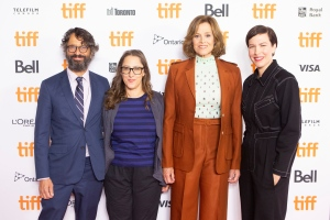 """Directors Wallace Wolodarsky, Maya Forbes, and actors Sigourney Weaver and Maya Forbes walk the red carpet as they promote the film """"The Good House"""" during the Toronto International Film Festival, on Wednesday, September 15, 2021. THE CANADIAN PRESS/Chris Young"""