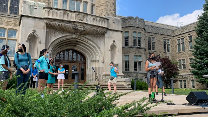 Students at Western University take part in a walkout Friday September 17, 2021 to protest a a 'culture of misogyny' on campus after a series of sexual assault allegations. (Beatrice Vaisman /CP24)