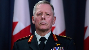 FILE - Chief of Defence Staff Jonathan Vance takes part in a press conference with Prime Minister Justin Trudeau at the National Press Theatre in Ottawa on Wednesday, Jan. 8, 2020. THE CANADIAN PRESS/Sean Kilpatrick