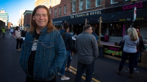 Newfoundland musician Alan Doyle walks on the Pedestrian Mall on Water Street in St. John's on Wednesday, July 8, 2020. THE CANADIAN PRESS/Paul Daly