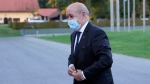 French Foreign Minister Jean-Yves Le Drian arrives for a meeting of EU foreign ministers at the Brdo Congress Center in Kranj, Slovenia, Thursday, Sept. 2, 2021. (AP Photo/Darko Bandic)