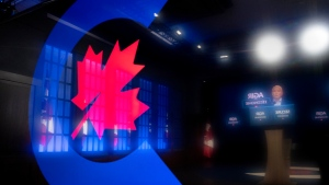 Conservative Leader Erin O'Toole is reflected in the Conservative Party logo on his teleprompter as speaks to the media on Tuesday, August 31, 2021 in Ottawa. Canadians will vote in a federal election Sept. 20th. THE CANADIAN PRESS/Frank Gunn