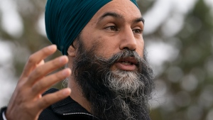 NDP Leader Jagmeet Singh delivers his morning announcement in Saskatoon, Sask., Friday, Sept. 17, 2021. THE CANADIAN PRESS/Jonathan Hayward