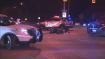 A motorcyclist was struck by a car in Scarborough, Toronto police say.