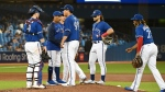 Toronto Blue Jays' Hyun Jin Ryu (99) is taken out of the game by manager Charlie Montoyo in the third inning of an American League baseball game against the Tampa Bay Rays in Toronto on Friday, Sept. 17, 2021. THE CANADIAN PRESS/Jon Blacker