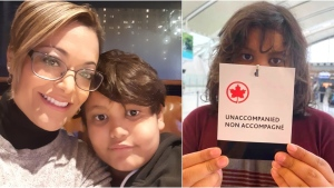 Monica Perez says her 11-year-old son, Sebastian, flew home from Mexico City alone on Sept. 14. (Supplied)