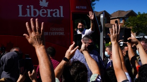 Liberal leader Justin Trudeau makes a campaign stop in the town of Maple in Vaughan, Ont., on Sunday, Sept. 19, 2021. THE CANADIAN PRESS/Sean Kilpatrick
