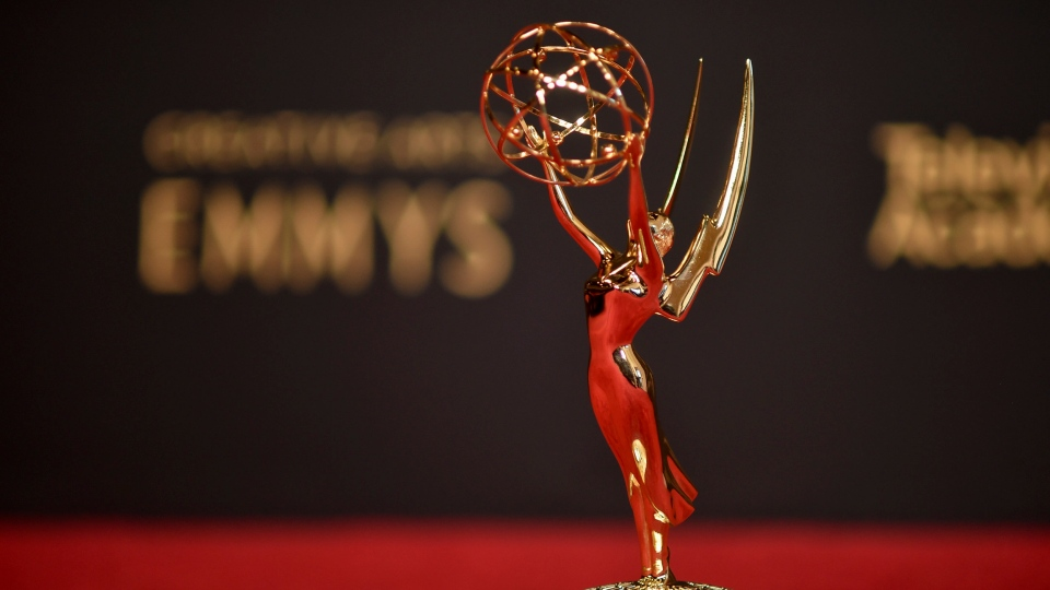 An Emmy statue is displayed on night one of the Creative Arts Emmy Awards on Saturday, Sept. 11, 2021, in Los Angeles. (Photo by Richard Shotwell/Invision/AP)