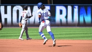 Toronto Blue Jays' Bo Bichette rounds the bases after hitting a two-run home run in the first inning of an American League baseball game against the Minnesota Twins in Toronto on Sunday, Sept. 19, 2021. THE CANADIAN PRESS/Jon Blacker