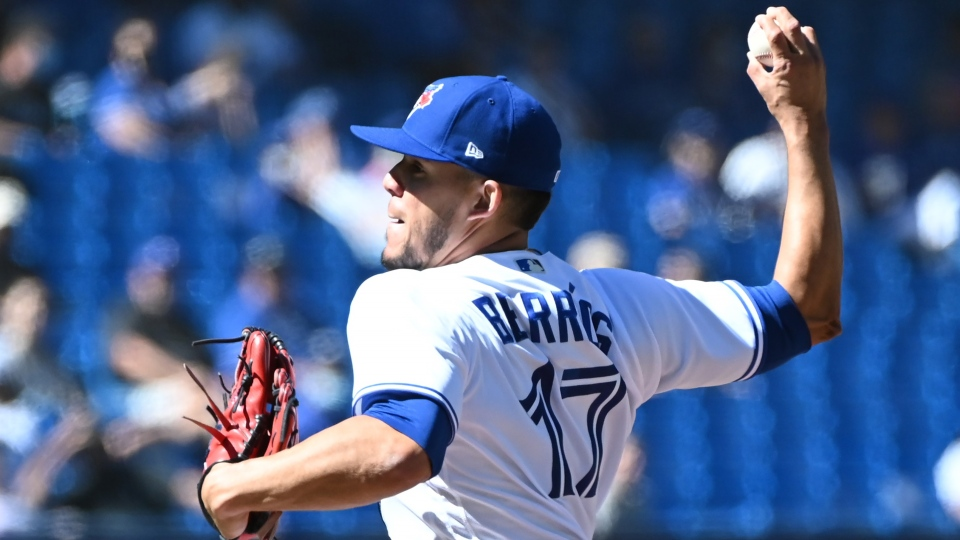 Toronto Blue Jays starting pitcher Jose Berrios pitches in the first inning of an American League baseball game against the Minnesota Twins in Toronto on Sunday, Sept. 19, 2021. THE CANADIAN PRESS/Jon Blacker