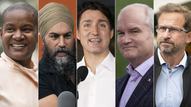 From left to right: Green Party Leader Annamie Paul, NDP Leader Jagmeet Singh, Liberal Leader Justin Trudeau, Conservative Leader Erin O'Toole, and BQ Leader Yves Blanchet. (THE CANADIAN PRESS)