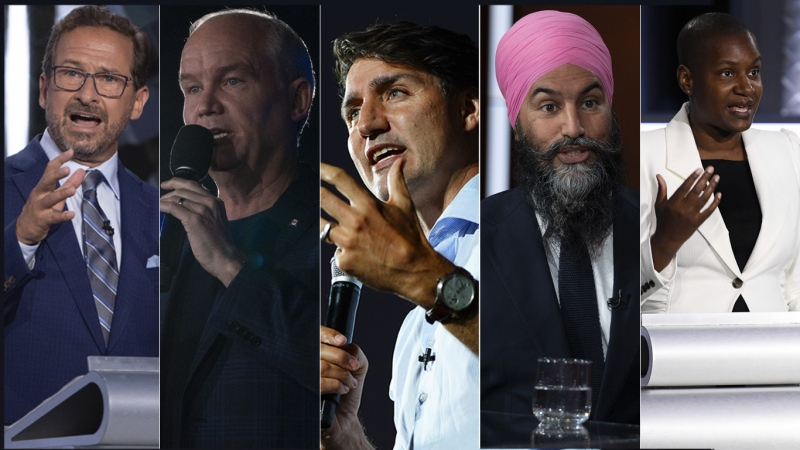 The federal leaders are shown in this composite image. (THE CANADIAN PRESS)