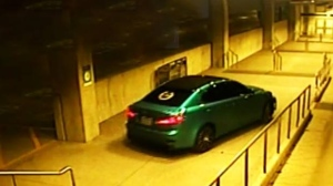 A vehicle that drover through a pedestrian tunnel at Ajax GO Station early Monday morning is shown in this surveillance image. (Durham Regional Police Service)