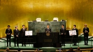 Members of South Korean K-pop band BTS speak at the Sustainable Development Goals during the 76th session of the United Nations General Assembly, at the United Nations Headquarters on Monday, Sept. 20, 2021 in New York City. (John Angelillo/Pool via AP)