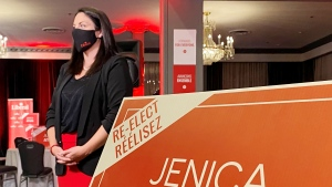 Liberal candidate Jenica Atwin is shown at her election campaign headquarters in Fredericton, N.B., on Monday, Sept, 20, 2021. THE CANADIAN PRESS/Kevin Bissett