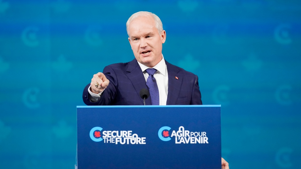 Conservative Leader Erin O'Toole gives his concession speech at his election night headquarters during the Canadian federal election in Oshawa, Ont., on Tuesday, September 21, 2021. THE CANADIAN PRESS/Adrian Wyld