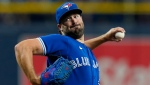 oronto Blue Jays' Robbie Ray pitches to the Tampa Bay Rays during the first inning of a baseball game Monday, Sept. 20, 2021, in St. Petersburg, Fla. (AP Photo/Chris O'Meara)