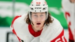 Detroit Red Wings left wing Tyler Bertuzzi (59) waits for the puck to drop during an NHL hockey game against the Dallas Stars in Dallas, in this Thursday, Jan. 28, 2021, file photo. Bertuzzi is the only unvaccinated Detroit Red Wings player going into training camp and faces the potential of missing all of his team's games in Canada this season as a result, general manager Steve Yzerman said Wednesday, Sept. 22, 2021. (AP Photo/Jeffrey McWhorter, File)