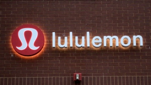 This Monday, June 5, 2017, photo shows the Lululemon Athletica logo outside a store in Dedham, Mass. Lululemon Athletica Inc. reports earnings Wednesday, Dec. 6, 2017. (AP Photo/Steven Senne)