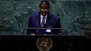 Hage Geingob, President, Republic of Namibia addresses the 76th Session of the U.N. General Assembly at United Nations headquarters in New York, on Thursday, Sept. 23, 2021. (Timothy A. Clary/Pool Photo via AP)