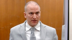In this June 25, 2021, file image taken from pool video, former Minneapolis police Officer Derek Chauvin addresses the court as Hennepin County Judge Peter Cahill presides over Chauvin's sentencing at the Hennepin County Courthouse in Minneapolis. Chauvin, convicted of murder in George Floyd's death, intends to appeal his conviction and sentence, saying the judge abused his discretion or erred during several key points in the case, according to documents filed Thursday., Sept. 23, 2021. (Court TV via AP, Pool, File)