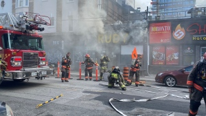 Fire crews are investigating after a fire broke out at Rudy restaurant in downtown Toronto Friday morning. (Courtesy: Ken Enlow)