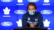 Toronto Maple Leafs forward William Nylander wears a protective mask as he has yet to be fully vaccinated against COVID-19 as he speaks to the media as their NHL training camp starts in Toronto on Wednesday, September 22, 2021. THE CANADIAN PRESS/Nathan Denette