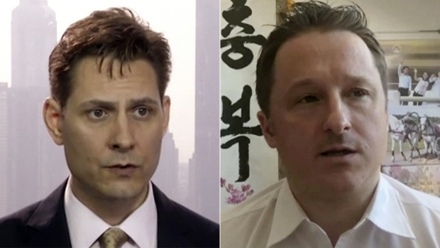 Michael Kovrig (left) and Michael Spavor are seen in this composite image. Prime Minister Trudeau said Friday the two Michaels are on their way back to Canada after being detained in China for three years. (AP Photo-File)