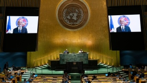 Haiti's Prime Minister Ariel Henry remotely addresses the 76th Session of the U.N. General Assembly at United Nations headquarters in New York, on Saturday, Sept. 25, 2021. (Eduardo Munoz /Pool Photo via AP)