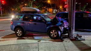 Toronto police are investigating a single-vehicle crash in Swansea that left one man injured. (Mike Nguyen/CP24)