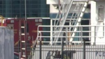 A Toronto Fire vehicle rolls off the ferry at Billy Bishop Airport on Sept. 27 after a report of a suspicious item inside. (CP24)