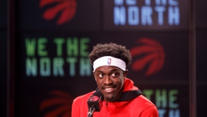 Toronto Raptors' Pascal Siakam speaks to media during a press conference at Scotiabank Arena during the team's media day in Toronto, Monday, Sept. 27, 2021. THE CANADIAN PRESS/Cole Burston