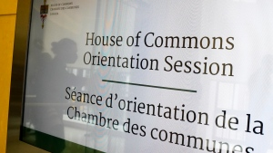 A House of Commons display screen directs newly elected members of Parliament to an orientation session in Ottawa on Monday, Sept. 27, 2021. THE CANADIAN PRESS/Sean Kilpatrick