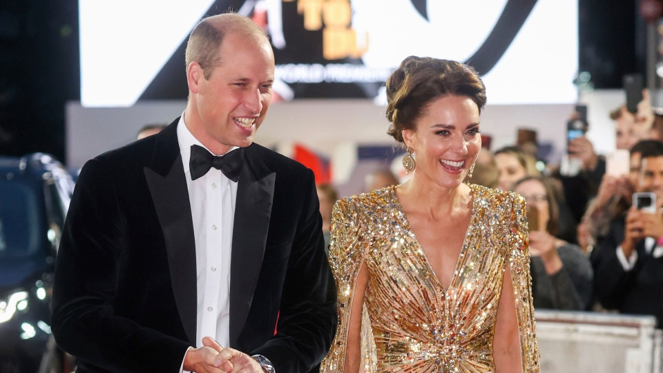 Britain's Prince William, left, and Kate, the Duchess of Cambridge, arrive for the World premiere of the new film from the James Bond franchise 'No Time To Die', in London, Tuesday, Sept. 28, 2021. (Chris Jackson/Pool Photo via AP)