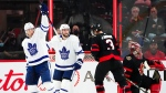 Toronto Maple Leafs' Michael Bunting (58), left, celebrates a goal against the Ottawa Senators during second period pre-season NHL action in Ottawa on Wednesday, Sept. 29, 2021. THE CANADIAN PRESS/Sean Kilpatrick