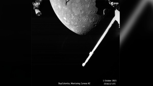 This image made available by the European Space Agency (ESA) shows planet Mercury taken by the joint European-Japanese BepiColombo spacecraft Mercury Transfer Module's Monitoring Camera 2, Friday, Oct. 1, 2021. (ESA via AP)
