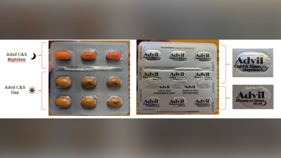 Incorrectly labelled Advil Cold & Sinus Day/Night Convenience Pack blister pack, front and back. The top row contains orange nighttime caplets, followed by two rows of beige daytime caplets. The foil backing on the blister pack is rotated upside down and misaligned. (Health Canada)